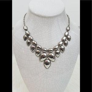 Boho Silver Tone Statement Necklace & Earring Set